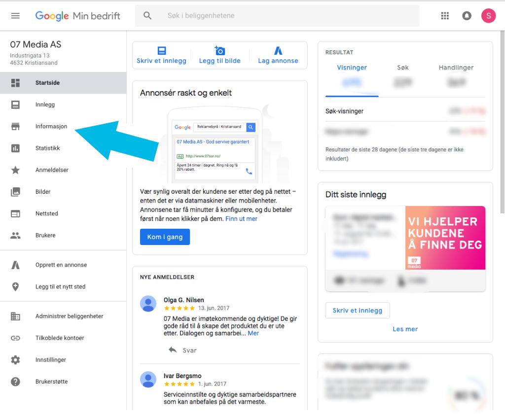 "Screenshot av ""Google my business"". Foto."