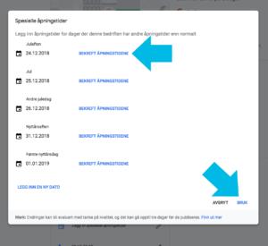 "Screenshot fra ""Google my business"". Foto."