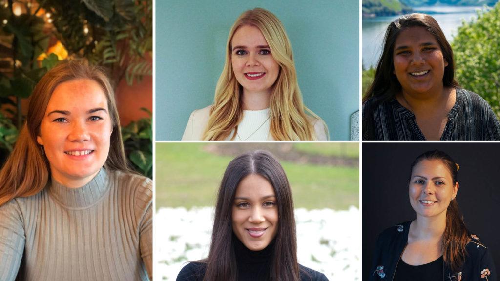 Collage med fem tidligere praksisstudenter i 07 Media Sør